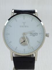 FALKEN/クォーツ腕時計/アナログ/レザー/WHT/BLK