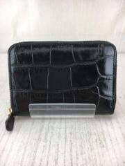 クロコ調2つ折り財布/レザー/BLK/ユニセックス/クロコ