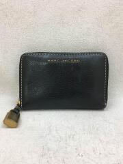 2つ折り財布/レザー/BLK/無地/レディース