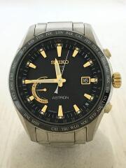 ソーラー腕時計/アナログ/チタン/GRY/SLV