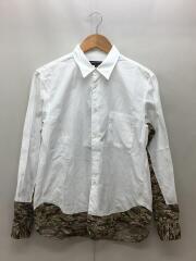 長袖シャツ/XS/コットン/WHT/無地/PO-B052/カモフラ切替
