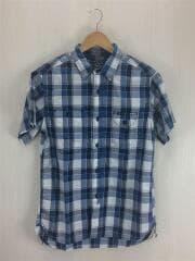 半袖シャツ/M/コットン/BLU/チェック/ステュディオダルチザン/5556