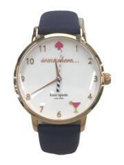 ケイトスペードニューヨーク/クォーツ腕時計/アナログ/レザー/WHT/NVY/KSW1040/電池切