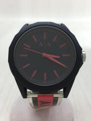 クォーツ腕時計/アナログ/ラバー/RED/BLK/AX7113/箱有り