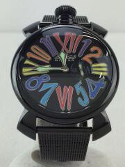 クォーツ腕時計/マヌアーレ/46/スリム/アナログ/ステンレス/BLK/BLK/5082/箱有