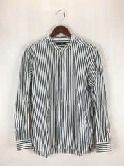 形態安定加工 ポプリンバンドカラーシャツ/M/コットン/ネイビー/ストライプ