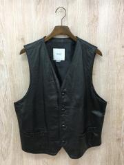レザーベスト/LL/牛革/ブラック/黒/レザーボタン