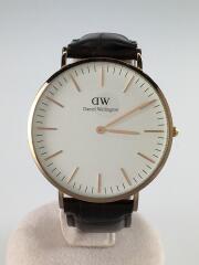 クォーツ腕時計/アナログ/レザー/WHT/BRW/※ガラス小傷有