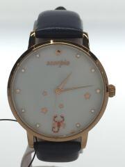 クォーツ腕時計/KSW382/アナログ/レザー/WHT/NVY