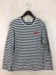 長袖Tシャツ/M/コットン/BLK/ボーダー