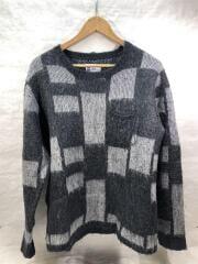 セーター(厚手)/M/ウール/GRY/チェック