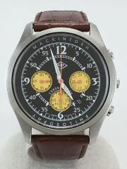 クォーツ腕時計/アナログ/レザー/BLK/7T12-0AH0