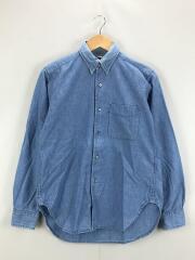 長袖シャツ/XS/コットン/BLU/襟元色落ち/ヨゴレ