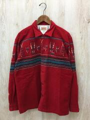 AFRICAN MASK/CORDUROY SPORTS SHIRT/L/コーデュロイ/RED/総柄