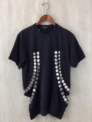 AD2015/スナップボタン装飾カットアウトTシャツ/M/ポリエステル/BLK/PQ-T037