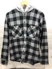 17AW/FLANNEL CHECK STAR HOODED SHIRT/2/コットン/GRY/チェック/毛羽立