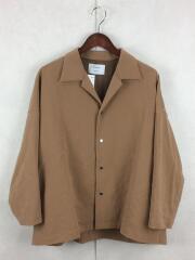 マルチストレッチオープンカラーオーバーシャツ/長袖シャツ/1/ポリエステル/BEG/107301001