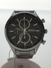 クォーツ腕時計/アナログ/ステンレス/BLK/文字盤キズ/7T92-0SM0