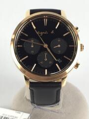 クォーツ腕時計/アナログ/レザー/ブラック/VD53-KW80