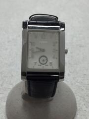 腕時計/アナログ/レザー/SLV/BLK