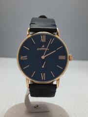 クォーツ腕時計/アナログ/レザー/BLU/BLK/OR0071