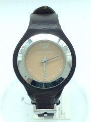 クォーツ腕時計/アナログ/レザー/ORN/BRW/ベルト劣化
