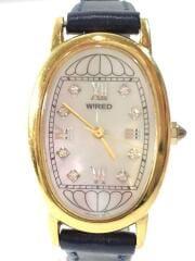 クォーツ腕時計/アナログ/レザー/シルバー/ネイビー/1N01-0NR0