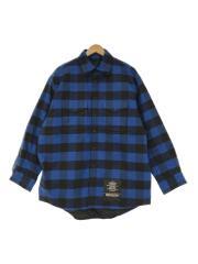 CPOフランネルシャツ/長袖シャツ/M/コットン/ブルー/チェック/中綿
