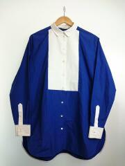 長袖シャツ/40/コットン/ブルー/ロングドレスシャツ