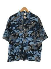 半袖シャツ/XL/コットン/BLU/カモフラ