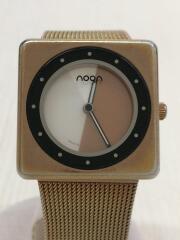 ヌーン/クォーツ腕時計/アナログ/ステンレス/ホワイト/ゴールド