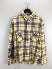 ラングラー/ビッグシルエットチェックシャツ/M/コットン/イエロー/チェック/WS9204-117