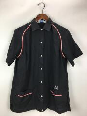 ヒルトン/半袖シャツ/40/コットン/ブラック/ボーリングシャツ