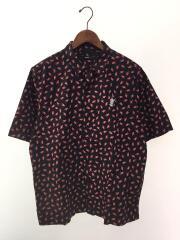 半袖シャツ/M/コットン/BLK/総柄/オープンカラーシャツ