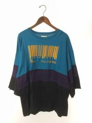 BARCODE切替ビッグTEE/刺繍部分ホツレ有Tシャツ/2/--/BLU