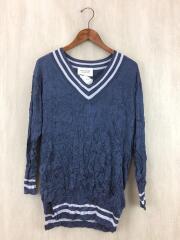 セーター(薄手)/36/シルク/ネイビー/silk pleats tilden sweater