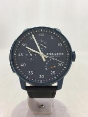 クォーツ腕時計/アナログ/レザー/NVY/BLK