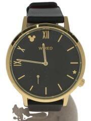 90周年デザイン/AGAK708/クォーツ腕時計/アナログ/レザー/BLK/BLK