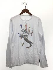 長袖Tシャツ/XL/コットン/WHT/地形