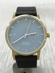 KLINGA ARCTIC/クォーツ腕時計/アナログ/レザー/BLU/BRW/KLST106