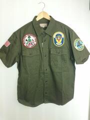 半袖シャツ/XL/ミリタリーシャツ/コットン/オリーブ/刺繍 パッチ/6165121