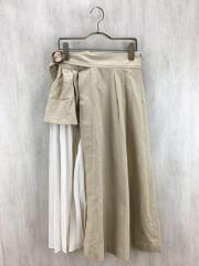 タグ付/チノプリーツ切替フレアスカート/2019/ロングスカート/FREE/コットン/BEG