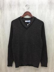 セーター(薄手)/マルチ杢 ライン Vネック/S/コットン/ブラウン/3213-105-1073