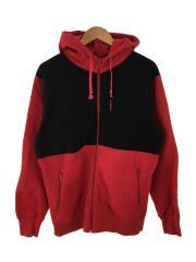 ジップパーカー/L/コットン/RED