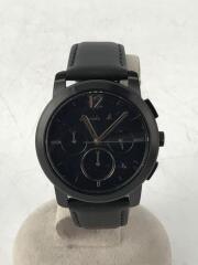クォーツ腕時計/アナログ/レザー/BLK/VD53-KXW0
