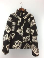 ダウンジャケット/M/コットン/BLK/総柄/license plate puffy jacket
