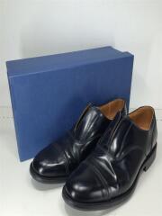 ノーシューレースレザーシューズ/1742B/ドレスシューズ/UK7.5/BLK/革靴/スリッポン/黒/レースアップシューズ