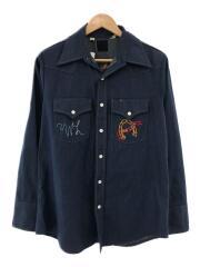 ウェスタン/刺繍/スナップボタン/長袖シャツ/M/デニム/IDG