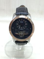 クォーツ腕時計/アナログ/レザー/BLK/ME1125