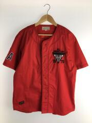シャツ/XL/コットン/レッド/6185105/クールマックス ストレッチ ベースボールシャツ/アヴィレックス